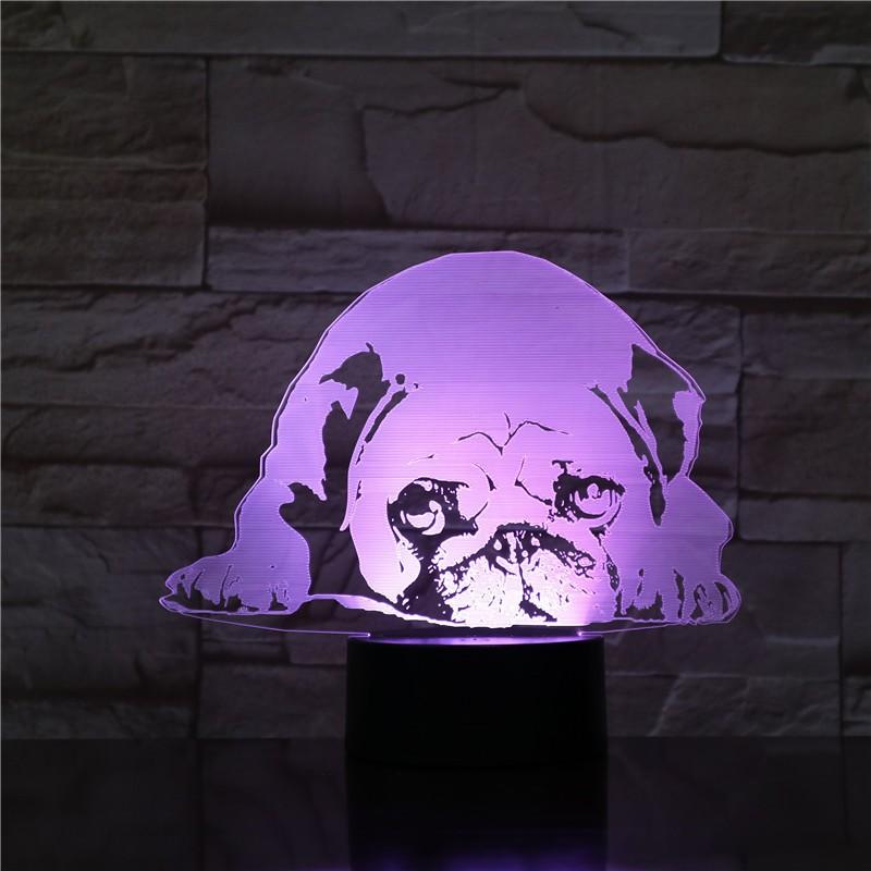 Fekvő Bulldog 3D led lámpa