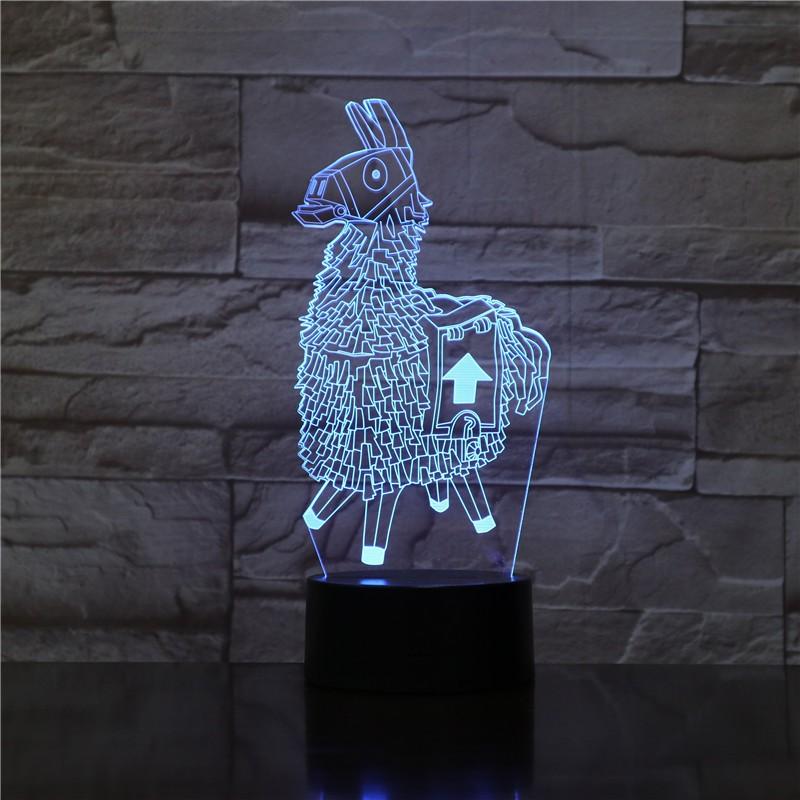 Láma 3D led lámpa