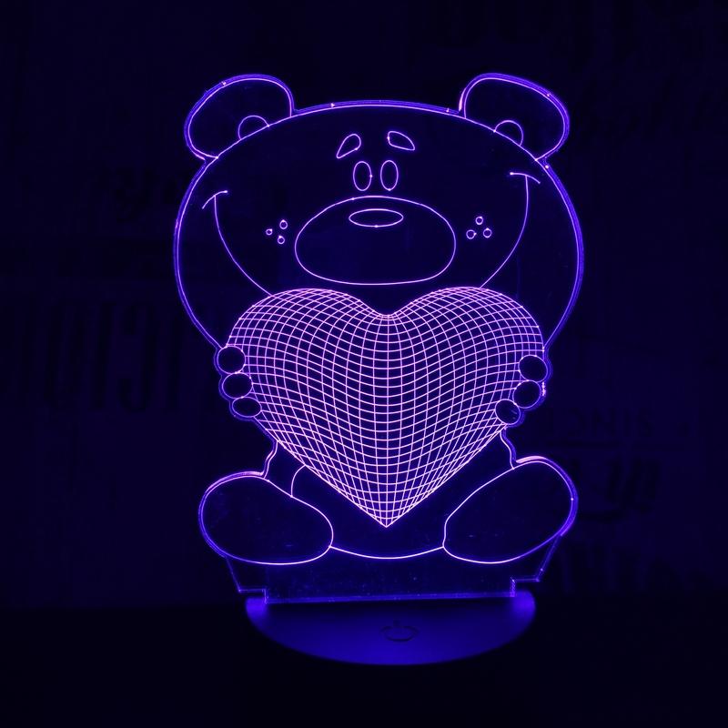 Nagy maci szív 3D led lámpa