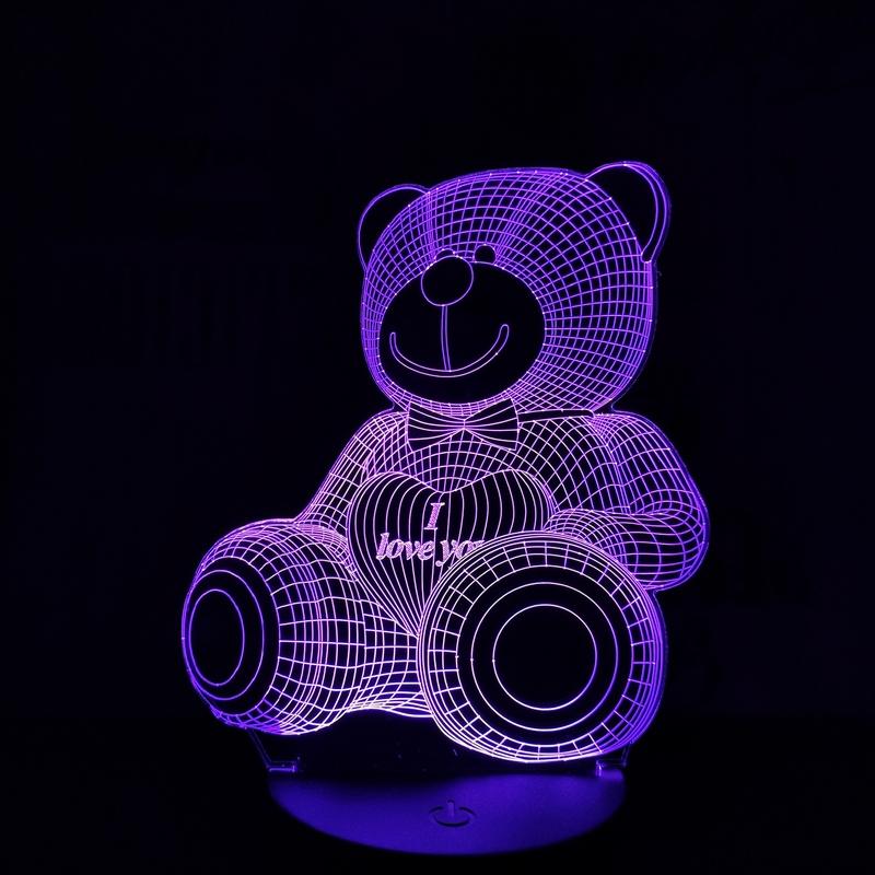 Maci I Love You 3D led lámpa
