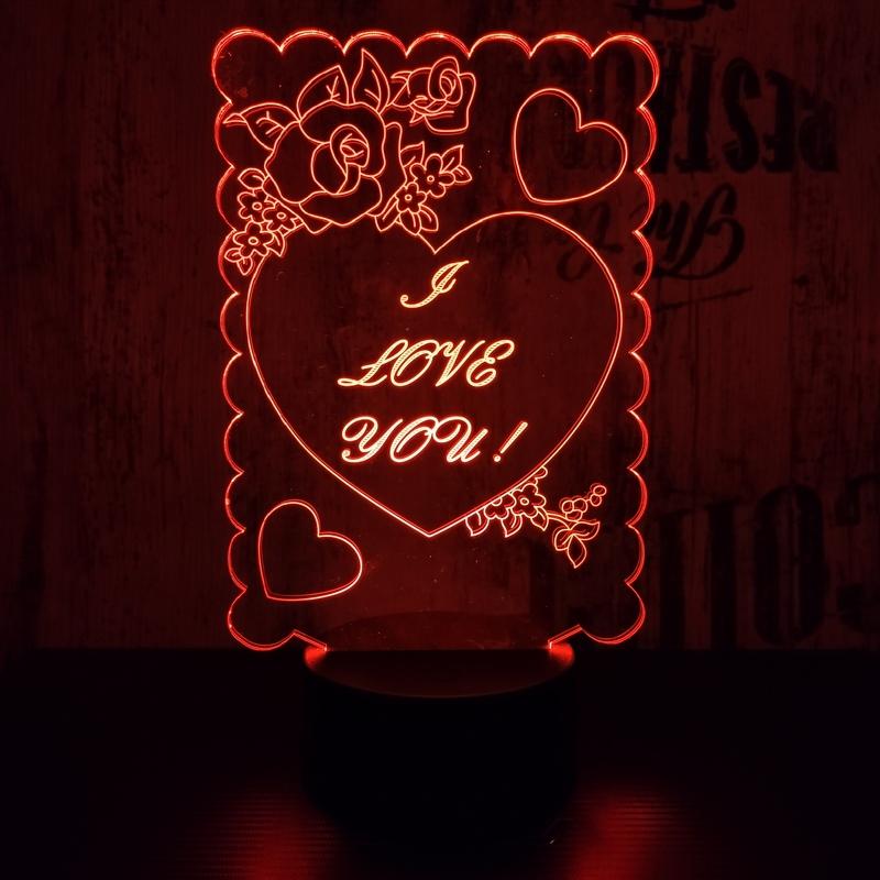 I love you 3D led lámpa