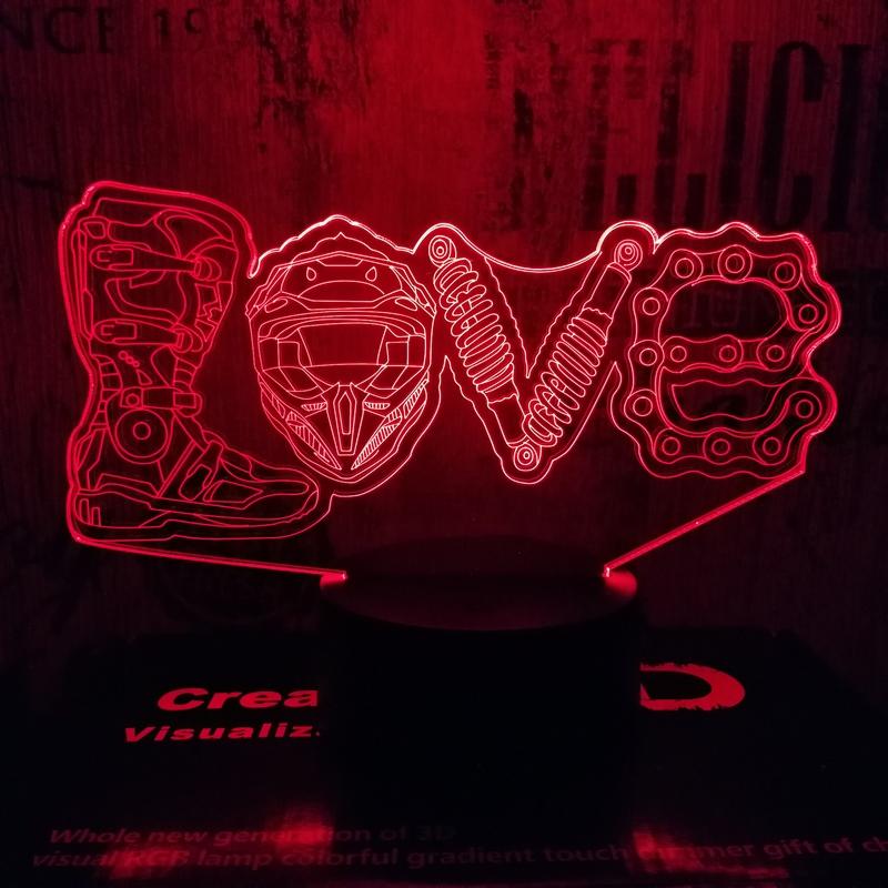 Motoros love 3D led lámpa